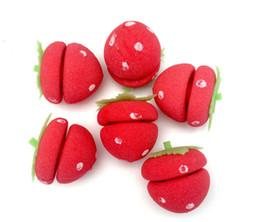 Wholesale Strawberry Soft Sponge Hair Curler - 2016 new Rollers, Curlers Hair Curler LOVELY 24pcs Strawberry Balls Soft Sponge Hair Curler Rollers free shipping