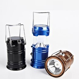 Wholesale Solar Powered Lanterns For Camping - Vintage Solar Panel Outdoor Light LED Camping Lights Lantern USB Charging + Solar Power Portable LED Lamp Flashlight for Climbing Hiking