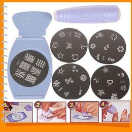 Wholesale Art Stencil Kit - New Salon Express Pro Stamping Nail Art Set Kit Nail Art Templates DIY Finger Stencil with Plates Scraper