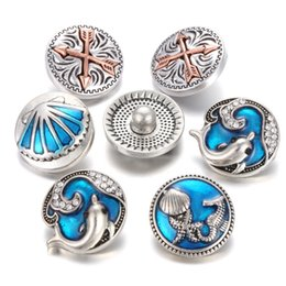 Wholesale Marines Charms - New Noosa Chunks Sea Marine Life Snap Button Jewelry Blue Dolphin Starfish 18mm Snaps Arrow Button Charms Fit Snap Bracelet