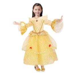 Wholesale Sleeping Beauty Dress Wholesale - 2017 Belle Princess Dress Rapunzel Dress Sleeping Beauty Princess Aurora Flare Sleeve Dress Party Birthday Costumes