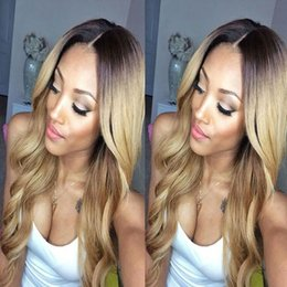 Wholesale Dark Honey Blonde Body Wave - Honey Blonde Lace Front Wig Glueless Full Lace Wigs Human Hair Ombre Wig Black Roots 1B 27 Body Wave Brazilian Virgin Hair