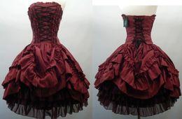 Wholesale Halloween Light Up Shirts - 2015 Burgundy Gothic Corset Prom Party Dresses Strapless Taffeta Short Ball Gown Halloween Wedding Dress Gowns Atelier Pierrot