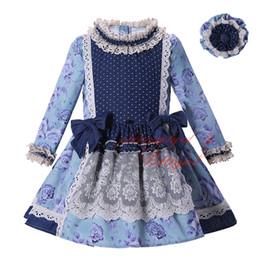 Pettigirl Venta caliente Nuevo vestido de niña de otoño Ropa de impresión con encaje Cintura alta Niños Boutique Wear Ropa vintage G-DMGD004-D12 desde fabricantes