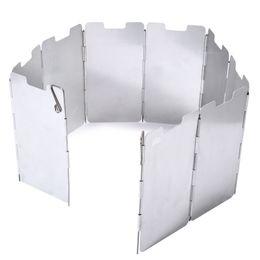 Escudo de vento Durable 9 Placa Dobrável Ao Ar Livre Camping Fogão de Cozinha Fogão A Gás Escudo de Vento Tela Pára Equipamentos de Camping Quente + B de