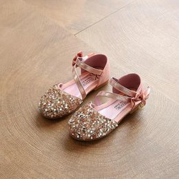 Wholesale Low Heel Gold Glitter Shoes - 2017 Children Princess Glitter Sandals Kids Girls Soft Shoes Square Low-heeled Dress Party Shoes Pink  Silver Gold Size21-30 06d