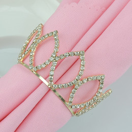 Wholesale Rhinestone Table Cloth - Luxury Shiny Gold Crown Rhinestone Napkin Rings Hotel Wedding Supplies Party Table Decoration Accessories Napkin Cloth Ring GX157