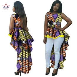 Wholesale Wax Clothes - BRW Dashiki African Wax Print Long Dresses for Women Plus Size African Style Women Clothing Office Party Bazin Riche Dress WY145