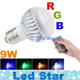 Wholesale E27 Rgb Led Lamp 9w - RGB Multiple Colour E27 E226 Led Bulbs Light Memory Function 9W Led Spot Globe Lamp AC 85-265V With Remote Control