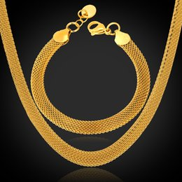 Wholesale High Quality Figaro Chain - U7 '18K' Stamp Chunky Chain Necklace Bracelet Set High Quality 18K Real Gold Plated Stainless Steel Figaro Chain 5MM Men Jewelry Set