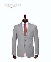 Wholesale Wedding Dresses Burgundy Trim - 2015 Handsome Back Vent Light Grey Groom Tuxedos Notched Lapel Slim Fit Men's Wedding Dress Prom Clothing