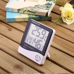 Wholesale Temperature Station Indoor - HTC-1 High-accuracy LCD Digital Thermometer Hygrometer Electronic Temperature Humidity Meter Clock Weather Station Indoor DHL Free