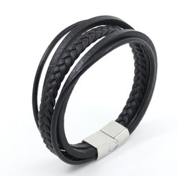 Wholesale Mens Braided Steel Jewelry - Mens Bracelet Braided Leather Bracelet Multilayer Fashion Wrist Cuff Titanium Steel Jewelry Bangle Black for Charms Fashion Men Charm