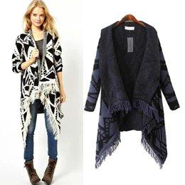 Wholesale Thick Fringe - Wholesale- AS Brand Ladies Autumn Winter Long placket Knitted Irregular Geometric Sweater Cardigan Jacket With Fringe Women Wrap Coat Top