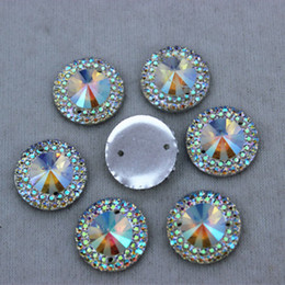 Wholesale Wholesale Flatback Resins - 14mm 100PCS AB Clear Color Round Shape Resin rhinestone Crystal Flat Back Stones FlatBack beads Sew On 2 Hole Free shiping ZZ9