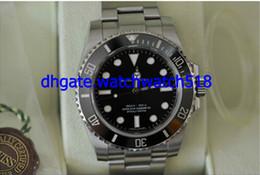 Wholesale Christmas Files - Factory Supplier Original Box File New 114060 Sapphire Ceramic Bezel Black Stainless steel Bracelet Automatic Sport Men's Wrist Watches