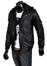 Wholesale Fur Collar Blazer Men - Fall-New double zipper Leather blazer double collar men winter hooded jackets man casual hoody coats Asia Size:S-M-L-XL-XXL C304