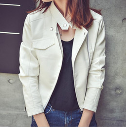 Wholesale Leather Motorcycle Jacket Small - Wholesale- Leather jacket 2017 Spring and Autumn new women's small leather short paragraph Slim PU motorcycle jacket jacket 3 colors S-XL