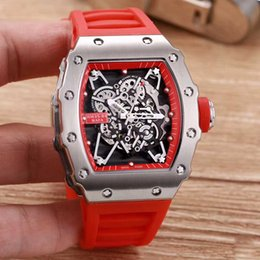Wholesale Blue Minerals - Top Brand 5 Color Men's Watch RM 35-01 Silver Case RAFAEL NADAL Mineral Tempered Glass Automatic Mechanical On Rubber Strap Fashion watch