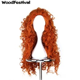 Wholesale Wig Orange Curly Long - Woodfestival Brave Wig Cosplay Orange Long Hair Heat Resistant Synthetic Wigs Curly