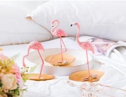Wholesale Sculpture Home Decoration - 2018 Creative Home Furnishing Decorations Pink Flamingo Desktop Figure Lovely Home Decoration Gift for Girls Flamingo Mini Sculpture Statue