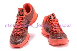 Wholesale Durant V - 2015 New Kd8 VIII V-8 Kevin Durant Red Mens Basketball Shoes Cheap kd 8 Bright Crimson Running Shoes kds Sneakers Size 7~12