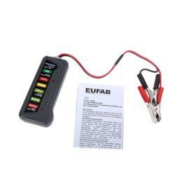 Wholesale Alternator Battery Tester - 12V Digital Battery Alternator Tester with 6-LED Lights Display Indicates Condition Diagnostic Tool Two Clips
