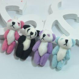 Wholesale Doll Phone Accessories - #Black 4cm Mini Stuffed Jointed Bare Panda Dolls Plush Toys Pendant Teddy Bear Bouquet Bag Phone jewellery accessory gift