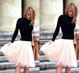 Wholesale Hot Women Short Skirts - Lovely Layered Above Knee Tulle Skirts Street Fashion Hot Design Simple Skirt for Women Custom Made Elastic Band Waist 2015 Short Dresses
