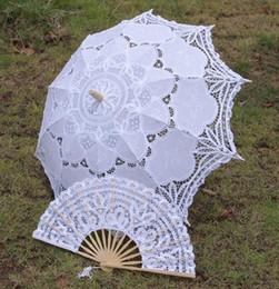 Wholesale Lace Bridal Fans - Wedding Lace Bridal Parasols and Fans Sets Wedding Umbrella New Photography props 82cm Diameter 68CM length Beautiful Bridal Accessories