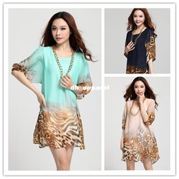 Wholesale One Lantern - 2014 Spring Autumn High quality Women Lantern Sleeve Loose Casual dress Leopard Print Chiffon Plus Size One-piece Summer Dress