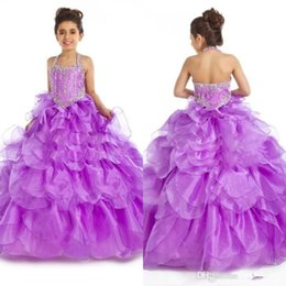 Wholesale Blinking Ball Lights - Hot Sale Free Shipping Girl's Pageant Dresses Purple Organza and Halter Blink Beads Ball Gown Cheap Cute Flower Girls Dresses