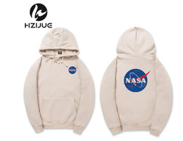 Wholesale Pink Hoodies Men - NASA Hoodie Streetwear Hip Hop Fashion Khaki Black Gray Pink White High Quality Hoodies Womens Mens Hoodies Sweatshirts XXL Plus Size