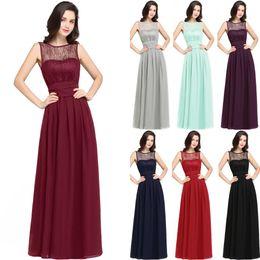 Wholesale Lace Mint Evening Dress - Hot Burgundy Navy Blue Mint Chiffon Bridesmaid Dresses For Summer Beach Weddings A Line Empire Waist Sheer Cheap Evening Prom Gowns CPS616