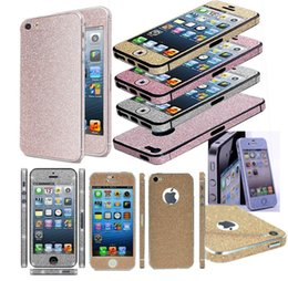 Wholesale Stickers Iphone Fashion - 2016 Fashion Full Body Bling Sticker Rhinestone Front Back Side Sticker Film For Iphone 5 6s 6splus samsung S4 S5 S6edge With retail package