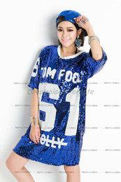 Wholesale Cheap Cotton Dresses For Women - Free Shipping Summer Cheap Fashion Hip Hop Bling Sequin T shirt Dress Long Women 61 Printed Sequined T Shirt For Dance