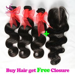 Wholesale Buy Brazilian Hair Weaves - Buy 3 Get 4! Brazilian Body Wave Hair Bundles with Free Lace Closure Malaysian Peruvian Indian Cambodian Unprocessed Virgin Human Hair Weave