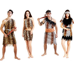 Wholesale Jungle Clothes - Jungle Man Caveman Adult Men Women Fancy Costume Stone Age Stag Halloween Party Theme Clothing Gift