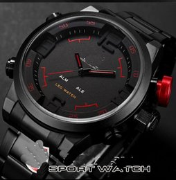 Wholesale Shark Sport Watch Black - 2016 shark army watch student waterproof sports watch sharks LED electronic quartz watch stainless steel band