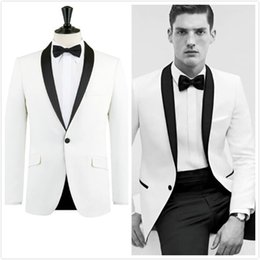 Wholesale Mens Slim Fit White Suit - 2017 White Tuxedo Jacket Black Lapel Slim Fit Men Suit Custom Made Wedding Tuxedos Mens Prom Suits White Blazers men(Jacket+Pants+Bowtie)