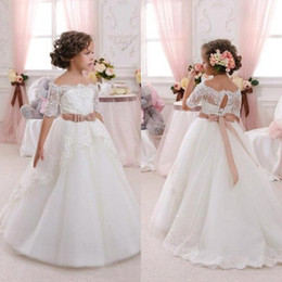 Wholesale cheap babies dresses for parties - Off the Shoulder Lace Bow Sash Baby Girl Communion Birthday Party Princess Dresses Cheap Flower Girls Dresses for Weddings