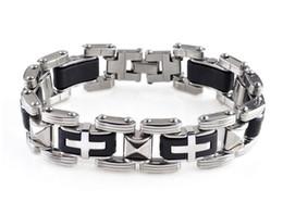 meilleures chaînes d'or pour hommes Promotion Mode Hommes Bracelets En Acier Inoxydable Croix Silicone Bracelet Hommes Bracelets Punk Chaîne Bijoux pour Hommes Meilleurs Cadeaux D259L