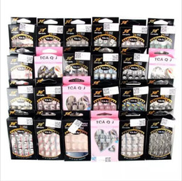 Wholesale French Manicure Tips - Wholesale New Hot Sale Fashion Acrylic False Nail Full French Sticker Nail Tips Manicure 25 Colors