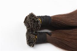 Wholesale Bag Strand - Flat Tip Keratin Hair Extensions 100% Human Brazilian Remy Hair #4 dark brown color 1g strand 100g 100s bag Free shipping
