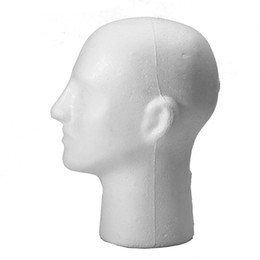 Wholesale Mannequin Head For Wig Hat - New Fashion Male Styrofoam Foam Mannequin White Manikin Head Stand Model For Wig Glasses Hat Hair Display Hot Selling