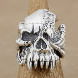 Wholesale Sterling Dragon Ring - 925 Sterling Silver Dragon Claw Skull Mens Biker Ring 9M002 US Size 8~14 Free Shipping