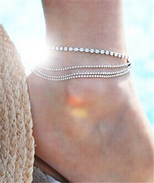 Wholesale Silver Beads Bracelets Valentine - Sexy Sparkling Crystal Anklet Ankle Bracelets Women Girls Multilayer Beads Foot Chain Silver Plated Jewelry Valentine Gift DCBJ636