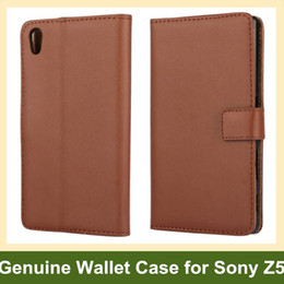 Wholesale Xperia Wallet - Wholesale New Arrrive Genuine Leather Wallet Flip Cover Phone Case for Sony Xperia Z5 E6603 E6653 Drop Shipping