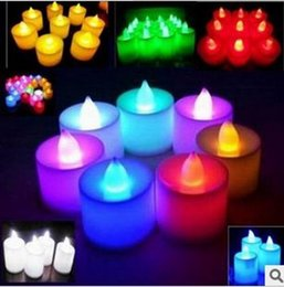 purple flameless candles Promo Codes - Hot sale Electronic candle lamp LED Candles Light Flashing Flameless Multi Colors Light Candle Lamp Wedding lights Gifts Party Decor