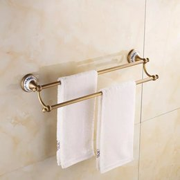 Wholesale Double Brass Towel Bar - 2017 Real New with Hook antique brass Copper Gold Double Fashion Towel Bar Double Layer Rack Towel Rack